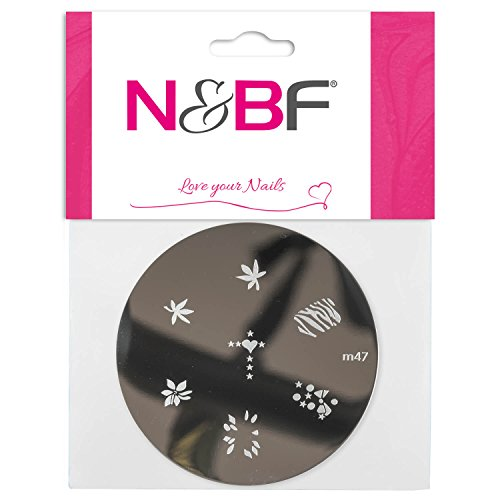 N&BF Nailart Stamping Schablone | Jungle Dreams | Runde Stempel Platte | Nageldesign Muster | French Maniküre | Stempel Equipment | verschiedene Motive für Gelnägel