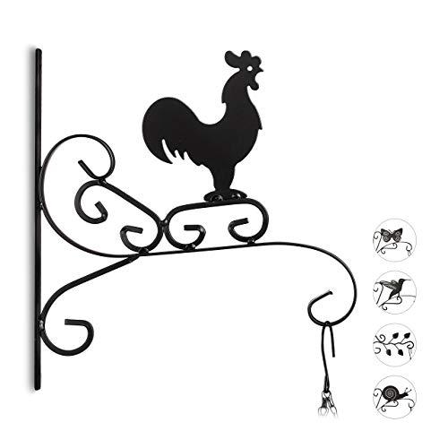 Relaxdays Blumenhaken mit Hahn, Blumenampelhalter für Wand, Topf, Garten-Deko Gockel, HxBxT: 30 x 28 x 2 cm, schwarz