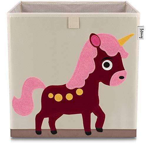 Lifeney Kinder Aufbewahrungsbox I praktische Aufbewahrungsbox für jedes Kinderzimmer I Kinder Spielkiste I Niedliche Spielzeugbox I Korb zur Aufbewahrung von Kinder Spielsachen (Einhorn hell)