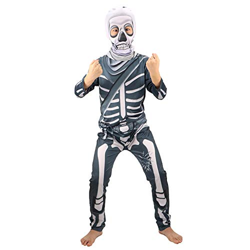 Skull Trooper Kostüm Kids Fancy Party Kleid Scary Skeleton Cosplay Halloween Kostüm für Kinder Sweater Boys Coat Horror Requisiten-Dunkelgrau_XL