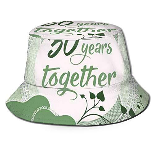 SUHETI Sombrerode Pescador Visera,Cita 30 años Juntos Frase Impresa,con Gorra Protección contra Sol UV Transpirable Sombrero