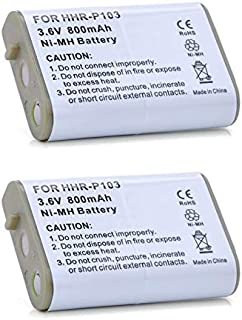 2 Pack of HHR-P103 Cordless Phone Replacement Battery for Panasonic KX-TD7896, HHR-P103, KX-TD7680, AT&T EP5632, KX-TD7684, VTech i5871, KX-TG2382, VTech IP8100, VTech i5808, AT&T EP590-2