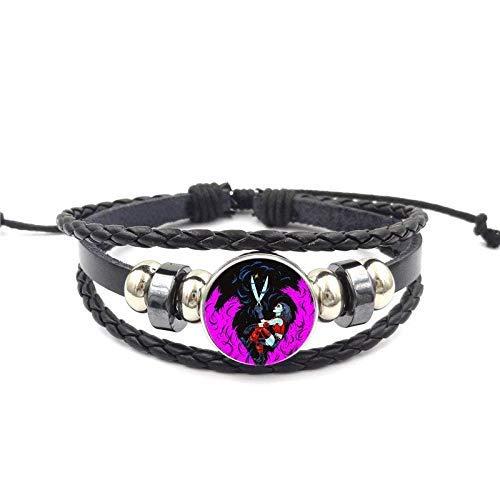 Steampunk Harley Quinn Comando Joker suicida para mujeres regalo hip hop joyería con cristal cabujón negro pulsera de cuero