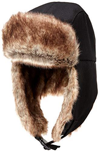 Amazon Essentials Men's Trapper Hat with Faux Fur, Black, One Size