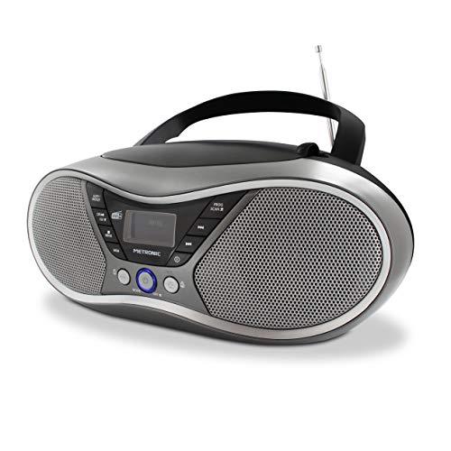 METRONIC 477171 Lecteur CD MP3 numérique DAB+ et FM RDS avec port USB, entrée audio, sortie casque, fonction double alarme - Gris et Noir