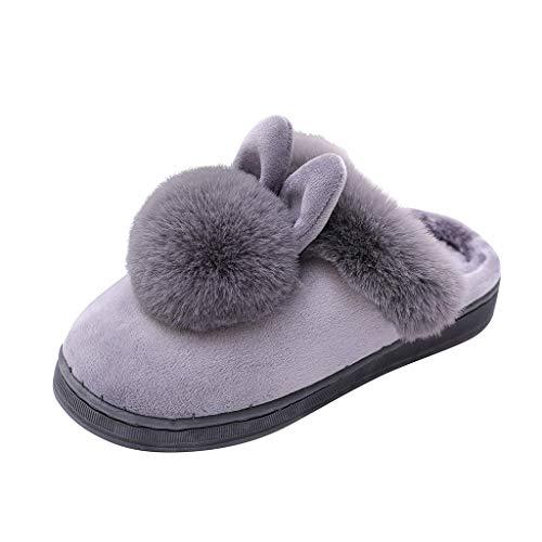 Schuhe Frauen Winter Home Furry Rabbit Ears Indoor Hausschuhe Soft Comfort Schuhe (39,Grau)