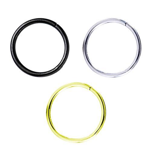 Pack 3 Piercings Aros Septum, Helix, Daith, Lóbulo, 2º y 3º Oreja de 1mm X 8mm - Colores Negro, Plata y Oro - Acero Quirúrgico