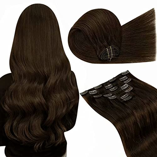 Brown Clip in Hair Extensions Real Human Hair LaaVoo 20 Inch Remy Hair Extensions Clip in Human Hair 7Pcs 120G #4 Brown Real Hair Clip on Hair Extensions Brown Human Hair Double Weft