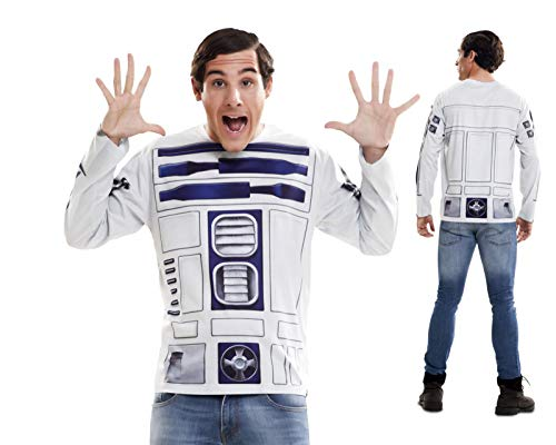 Disfraz Camiseta de Star Wars R2d2 Original de Carnaval para Hombre S de Microfibra - LOLAhome