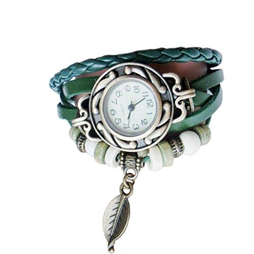 Pulsera del Reloj, K-youth® Retro Estilo Romano Hojas Colgante Cuarzo Reloj de...
