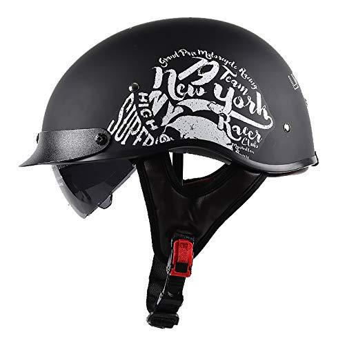 Casco clásico retro para motocicleta de media cara, certificado DOT/ECE, casco de moda medio abierto con gafas, prueba de seguridad en carretera, protege eficazmente la cabeza de seguridad 3, M