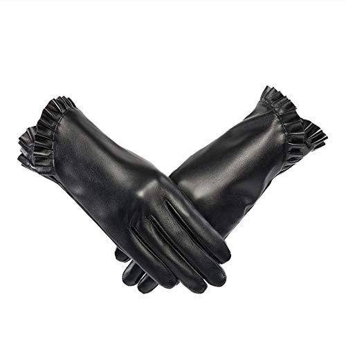 Guanti in pelle Warm più velluto degli uomini di inverno Schermo impermeabile di tocco di esterno...