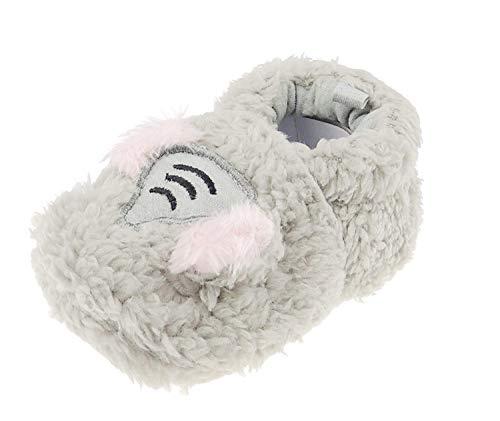Baby Mädchen Jungen Bestickte Babyschuhe Fleecy Pantoffeln Elefant Grau 12 3-6 Monate