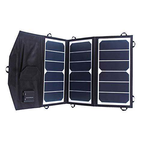 LIUDOU Cargador Solar 21W Cargador De Panel Solar Portátil con 2 Puertos USB, Camping Impermeable Portátil Plegable para Teléfono Celular Tablet Cámara Electrónica