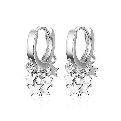 Pendientes de aro de plata con muchas estrellas, para mujer