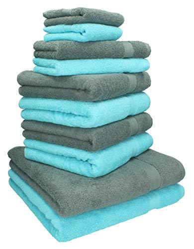 Betz 10-TLG. Handtuch-Set Classic 100% Baumwolle 2 Duschtücher 4 Handtücher 2 Gästetücher 2 Seiftücher Farbe türkis und anthrazitgrau
