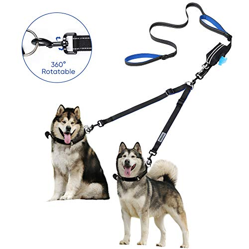 YOUTHINK Dual Dog Leash 360°No Tangle Double Handle Leash Dog Walking & Training Leash Reflective Adjustable Dog Leash for 2 Dogs up to 110 lbs, with Waste Bag Dispenser