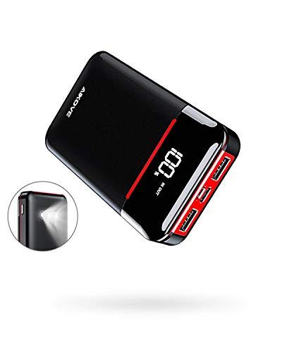 Aikove Powerbank 10000mAh Wahre, Power Bank mit LCD Display, 2 Ausgängen(zwei 2.4A)und 2 Eingängen(USB C & Micro zwei 2.4A), Kleine und Leichte Externer Akku mit LED-Licht für Allen Handys und Tablets