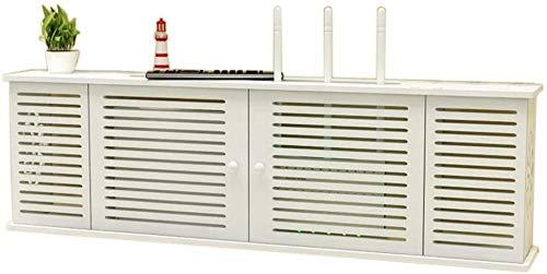 YZPDD WiFi-Router-Box Wandmontierter TV-Wand-Set-Top-Box-Regal-Floating-Frame-Aufbewahrungsbox, viertürige Jalousien
