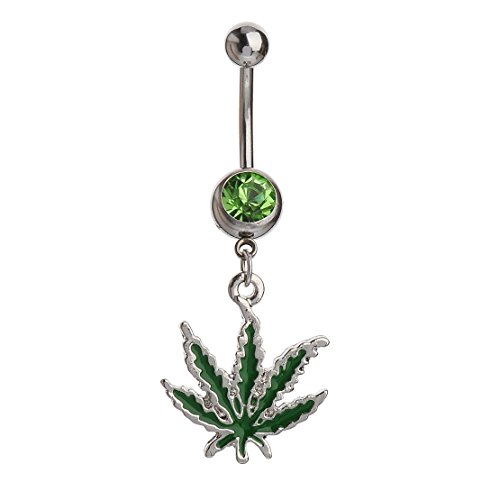 Bling Stars Belly Button Ring Pot Leaf Dangle Navel Ring 14G 1.6mm Body Jewelry