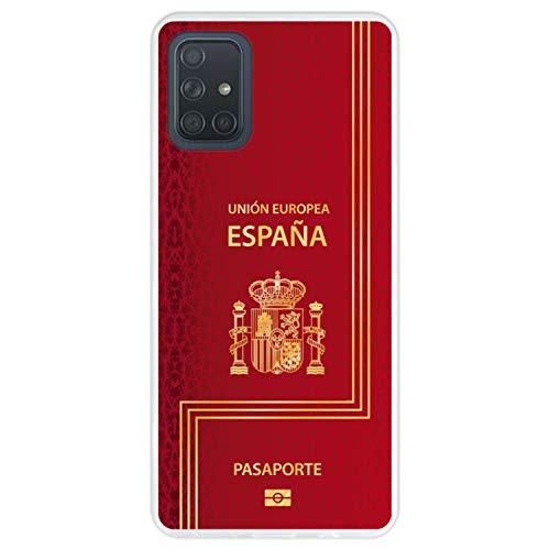 Telefoonhoesje voor [ Samsung Galaxy A71 ] tekening [ Biometrisch Spaans paspoort ] Transparant TPU flexibele siliconen schaal