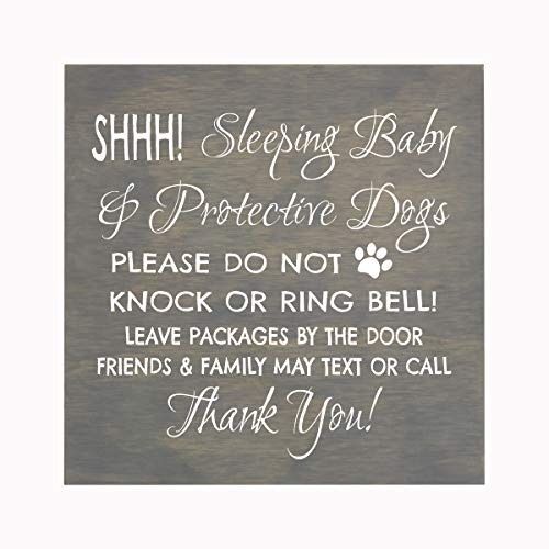 LifeSong Milestones Sleeping Baby Protective Puppies Baltic Birch Hanging Sign for Front Door - Do Not Knock or Ring Doorbell - Quiet Entry for House New Home Decor - 10x10 (Grey)