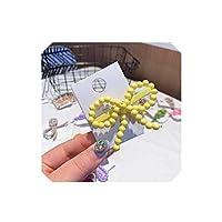 またシックなキャンディーの色ボウノットヘアクリップヘアピン女性の手作り編組プラスチックビーズHairgripヘアアクセサリー、イエロー