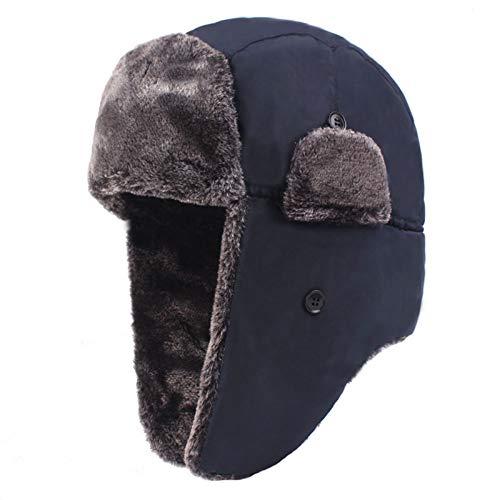 QQYYY Sombrero De Trampero De Invierno, Sombrero De Piel Sintética De Soldado De Invierno para Hombre, Sombrero De Bombardero para Clima Frío con Orejera,Azul