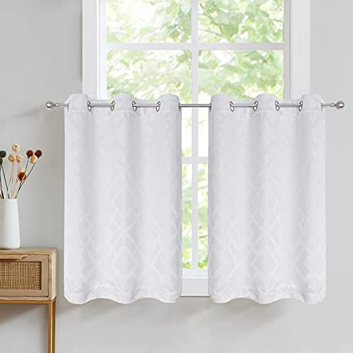 """Nottingson Home Short Curtains 45 Inch Length Blackout White Kitchen Curtains Patterned Jacquard Thermal Geometric Room Darkening Bathroom Curtains Window/Basement/Nursery Drapes 40"""" Wx45 Lx2"""