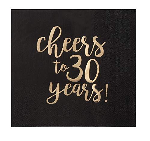 Einwegservietten – 50er Pack Luncheon Papierservietten, 30. Geburtstag, Hochzeit, Jubiläum, Partyzubehör, 3-lagig, Cheers to 30 Jahre Goldfolien-Design, gefaltet 16,5 x 16,5 cm Black, 6.5 x 6.5 Inches