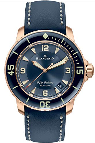 Blancpain Rose Gold Fifty Fathoms Automatic Mens Blue Watch
