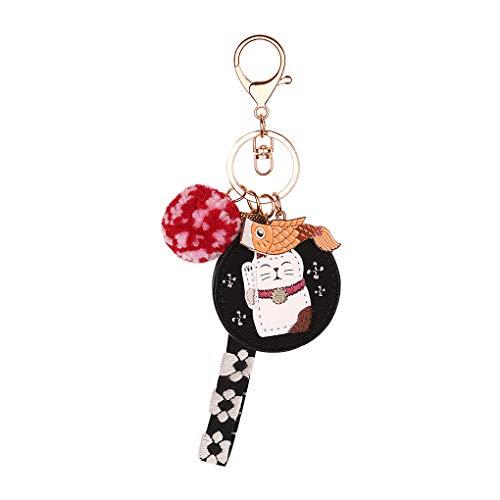 Maneki-Neko Band Schlüsselanhänger Leder süße Karpfen Anhänger Süß Katze Keychain Pendant Handtaschen Dekoration Geschenk