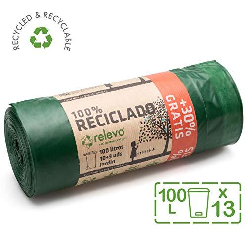 Relevo 100% Reciclado Bolsas de Basura, extra resistentes 100 L, 13 Bolsas