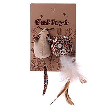 Yanhonin Plume Mouse Jouet à Herbe à Chat, Les Couleurs Peuvent Varier, Rechargeable Jouet Herbe à Chat, Plumes Naturelles (1#)
