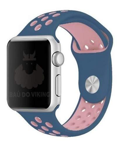 Pulseira Silicone Furos, compatível com Apple Watch (Azul Rosa, 42mm Pequeno)