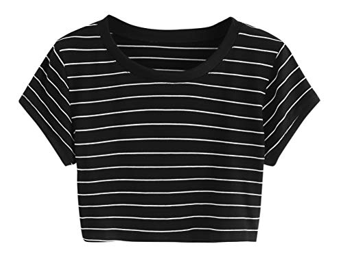 SweatyRocks Women's Striped Ringer Crop Top Summer Short Sleeve T-Shirts Black Large