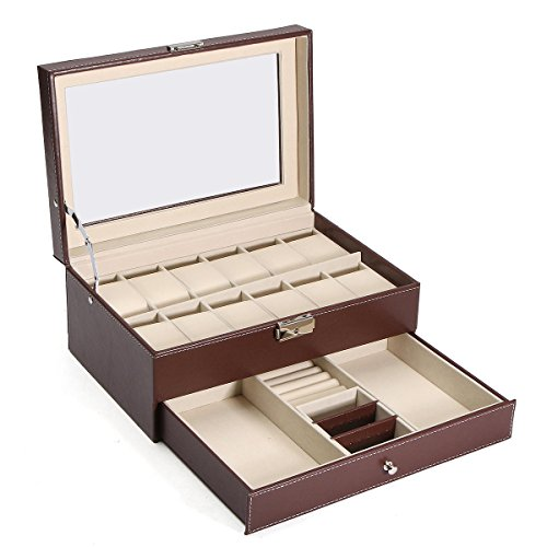 xingxing Aufbewahrungsbox aus Holz und Leder für Uhren und Accessoires