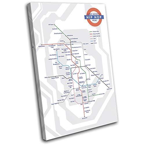 Bold Bloc Design - London Tube History Hip Hop Musical 135x90cm Single Caja de Lamina de Arte Lienzo Enmarcado Foto del Colgante de Pared Listo para Colgar Canvas Print 13-9906(00B)-SG32-PO-F