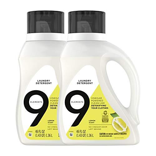 9 Elements Liquid Laundry Detergent, Lemon Scent, Vinegar Powered, 46 Oz, 2 Count