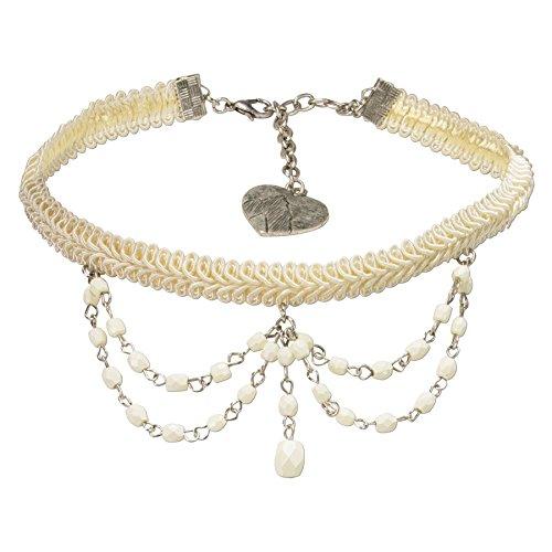 Alpenflüstern Trachten Borten-Kropfband Ida mit Perlen-Ketten - nostalgische Trachtenkette enganliegend, Elegante Kropfkette, Damen-Trachtenschmuck Creme-weiß DHK188
