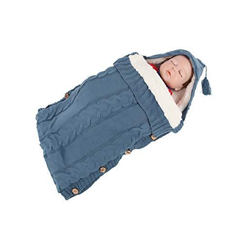 Sleeping Bag Knitted Blanket Newborn,Baby Swaddle Blanket Stroller Wrap Super Soft Unisex Sleeping Bag Mat for 0-12 Months(Blue)