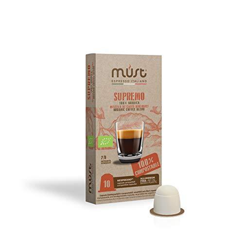 MUST 100 capsule Caffè miscela SUPREMO Biologico 10 pack da 10 Capsule compatibili con macchina / macchinetta Nespresso Cialde 100% compostabili Made in Italy Gettabile nell'Umido & Riciclabile