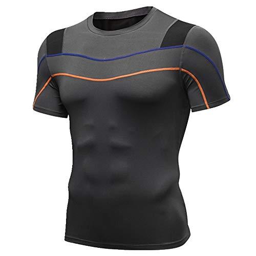 Herren-Fitness-T-Shirt, kurzärmlig, reflektierend, schnelltrocknend Gr. L, grau