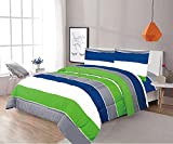 Sapphire Home 7 Piece Full Size Comforter Set Bed in Bag with Shams, Sheet Set, Green Gray Blue Stripes Print Multicolor Boys Kids Girls Teens Bedding w/Sheets, (7pc, Full, Green/Gray)