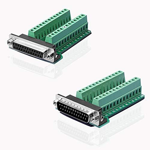 S SIENOC D-SUB DB25-G2-Stecker + M2-Buchse, 25-poliger Stecker, Breakout zu den Anschlüssen der Leiterplatte