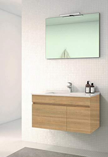 VAROBATH Conjunto de Mueble de baño suspendido de 1 Cajon y 2 Puertas con Lavabo de Ceramica, y Espejo Liso - Modelo SOKI (80 cms, Hera)
