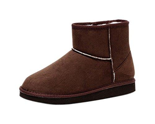 Minetom Damen Classic Schuhe Stiefeletten Winter Fur Boots Winterstiefel Warm Casual Flats Bequeme Mode Boots ( Kaffee EU 39 )
