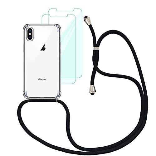Yohii Funda con Cuerda Compatible con iPhone X/XS y [2 Pack] Cristal Templado Protector de Pantalla, Carcasa Transparente TPU Suave Silicon Colgante Ajustable Collar - Negro