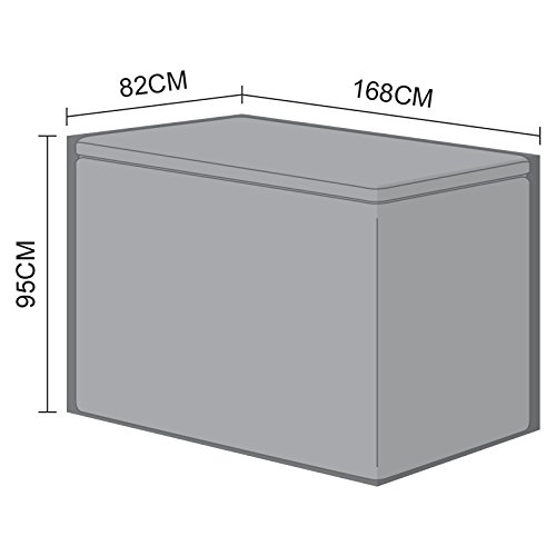 Nova Outdoor Living Garden Chest Container Patio Furniture PVC Protector Weatherproof Cover for Large Storage Box, Black, W: 168cm (66') D: 82cm (32') H: 95cm (37')