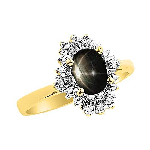 Diamond & Black Star - Juego de anillos de zafiro en oro amarillo de 14 quilates con diamantes
